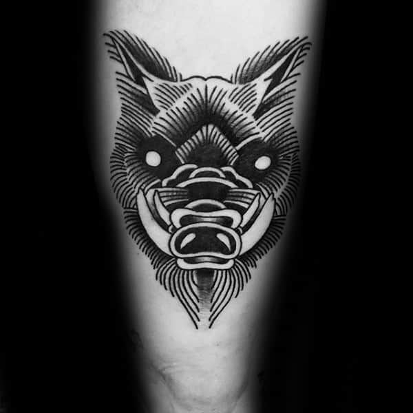 Linework Male Black Ink Boar Thigh Tattoo Inspiration