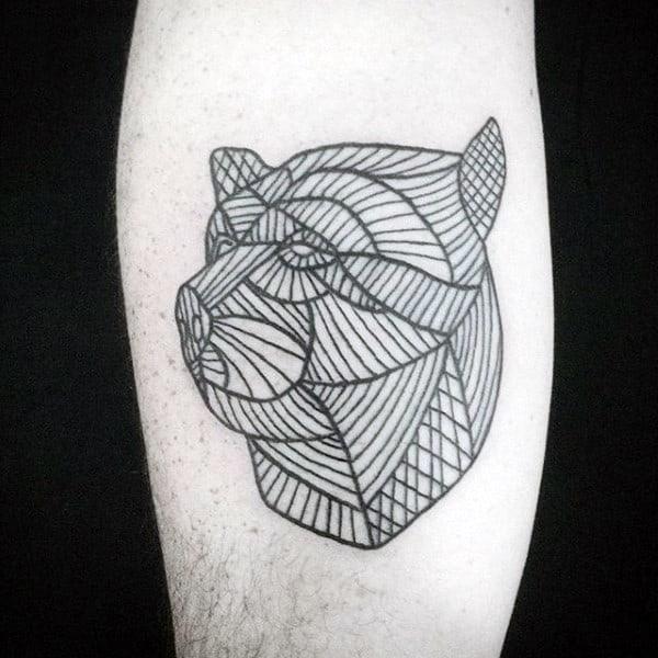 Linework Male Geometric Bear Arm Tattoo Ideas