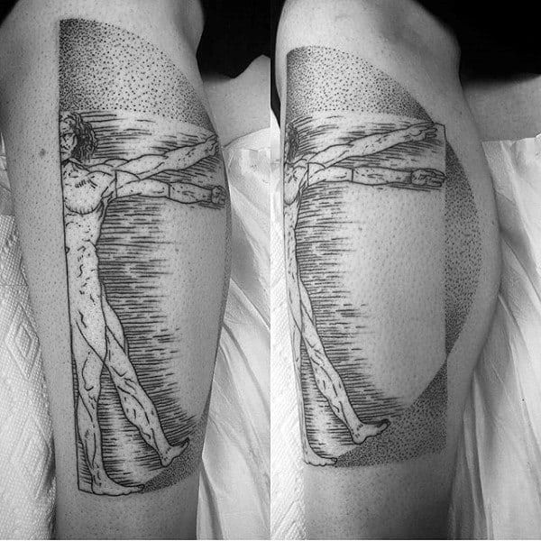 Linework Male Half Vitruvian Man Leg Tattoos