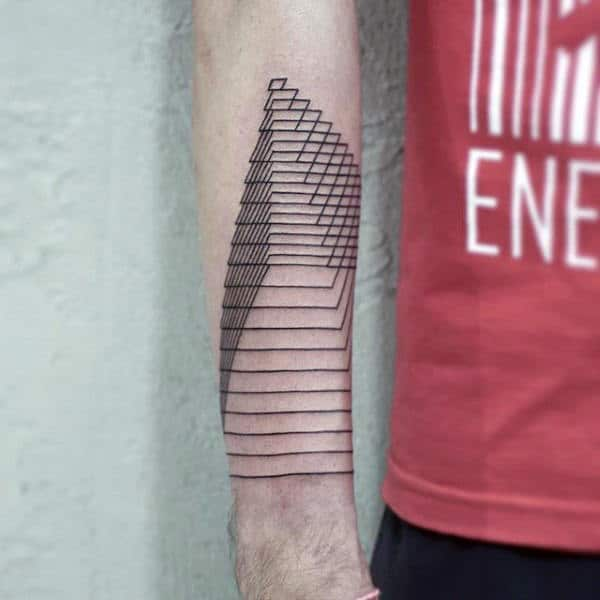 Linework Mens 3d Pyramid Forearm Tattoos