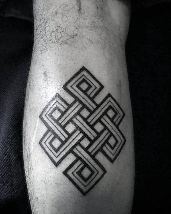 Linework Mens Endless Knot Leg Calf Tattoos