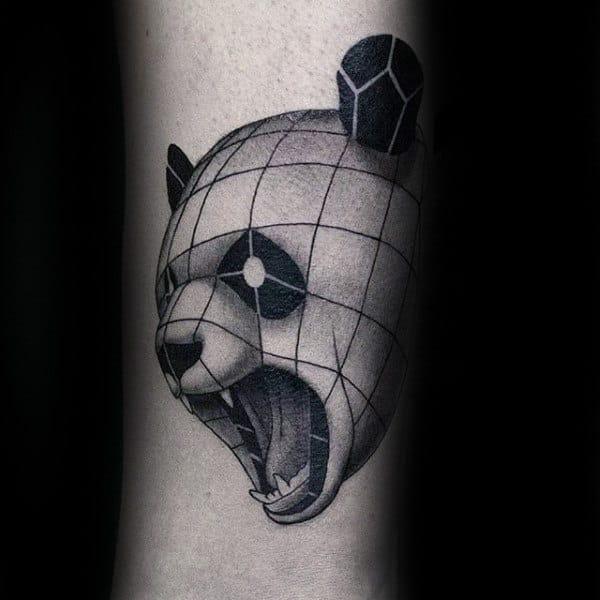 Linework Mens Panda Geometrical Tatto Designs