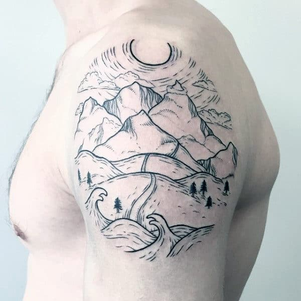 Linework Mens Upper Arm Travel Mountain Road Tattoo