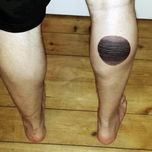 Linework Optical Illusion Mens Circle Leg Calf Tattoo