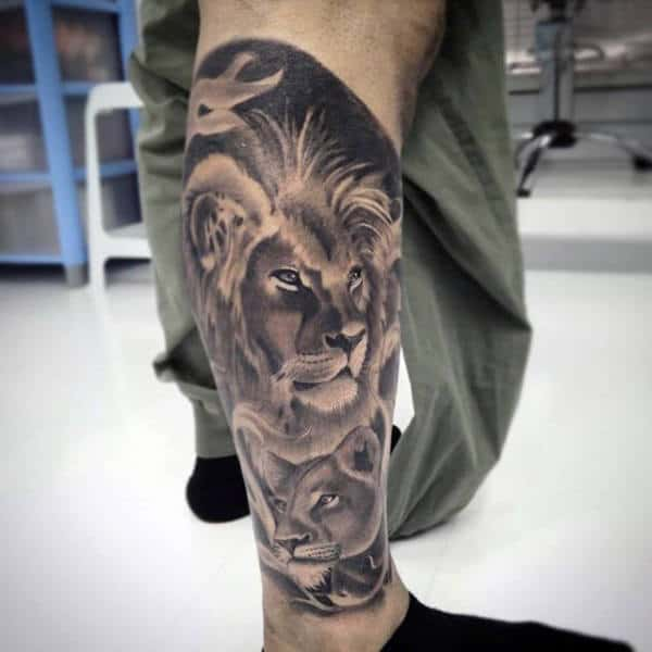 Lion And Cub Tattoo For Guys Half Leg Sleeve