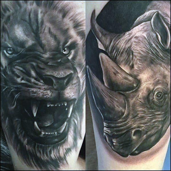 Lion And Rhino Mens Upper Arm Tattoos With Shaded Ink