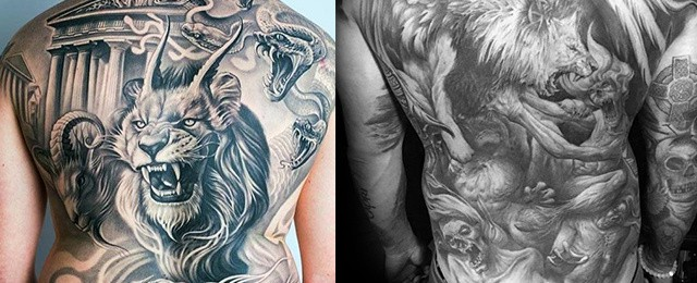 b5c426765e9dd 50 Lion Back Tattoo Designs For Men - Masculine Big Cat Ink Ideas