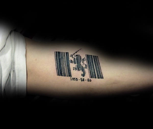 Lion Barcode Mens Arm Tattoo