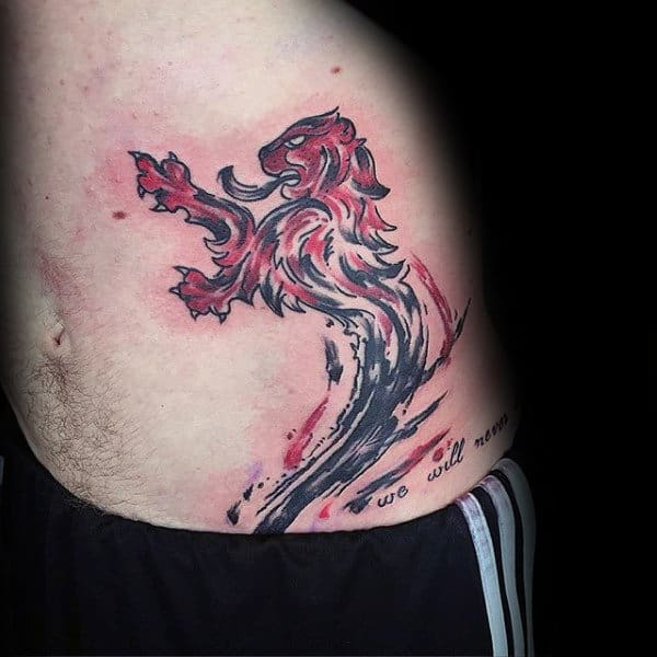 Lion Brush Stroke Mens Hip And Ribs Tattoo