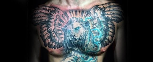 Lion Chest Tattoo Designs For Men
