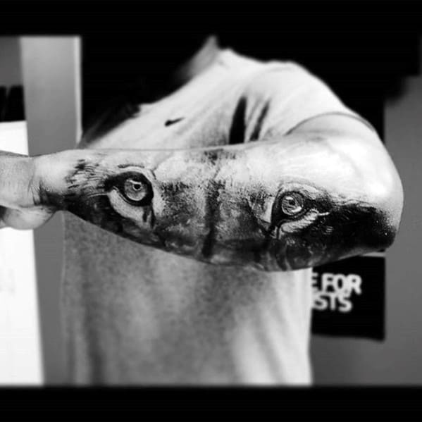 Lion Eyes Mens 3d Realistic Outer Forearm Tattoos