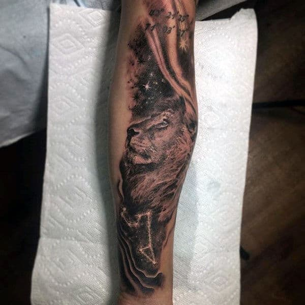 Lion Forearm Leo Constellation Mens Tattoos