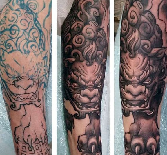 Lion Guardian Foo Dog Mens Forearm Sleeve Tattoo With Shaded Ink Design