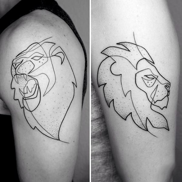 Lion Guys Tattoo Fine Line On Upper Arm