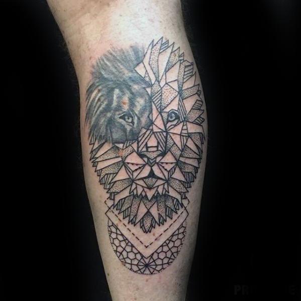 Lion Head Geometric Leg Tattoo Designs For Guys