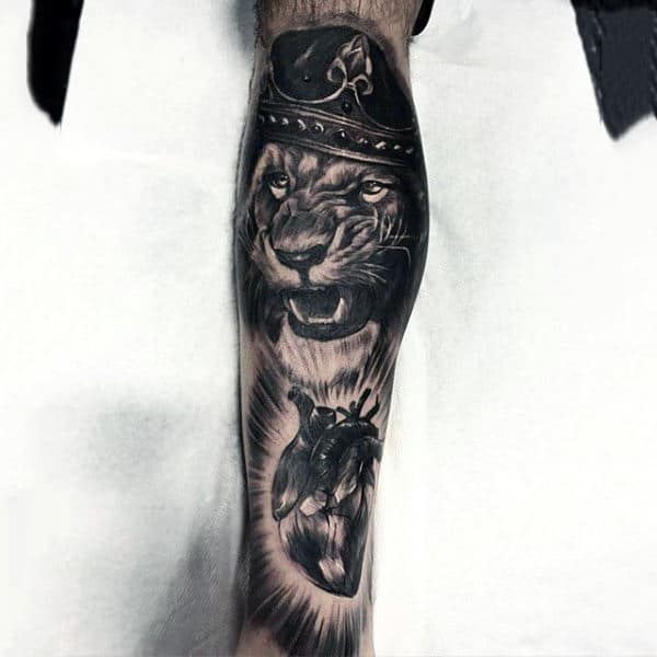 Lion Heart Forearm Sleeve Tattoo Designs On Males