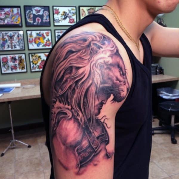 Lion Hercules Mens Upper Arm Tattoos