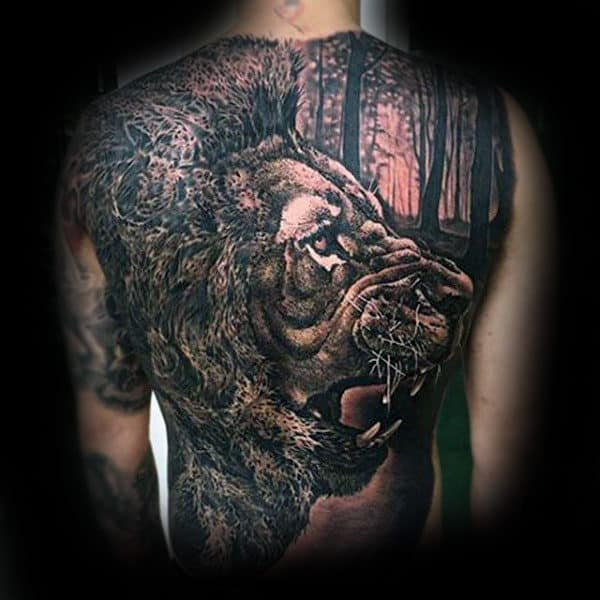 Lion In The Forest Guys Back Tattoo