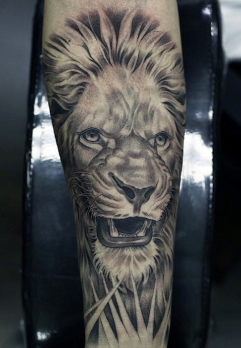 Lion Male Forearm Tattoo Design Inspiration