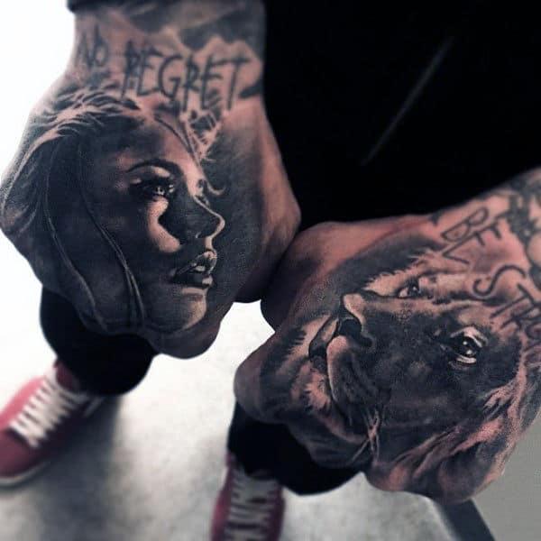 Lion Men's Tattoo On Hands