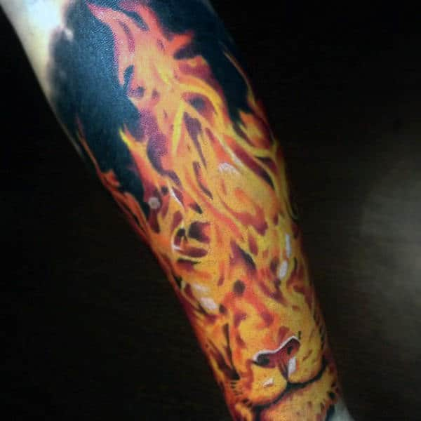 Lion Mens Up In Flames Tattoo