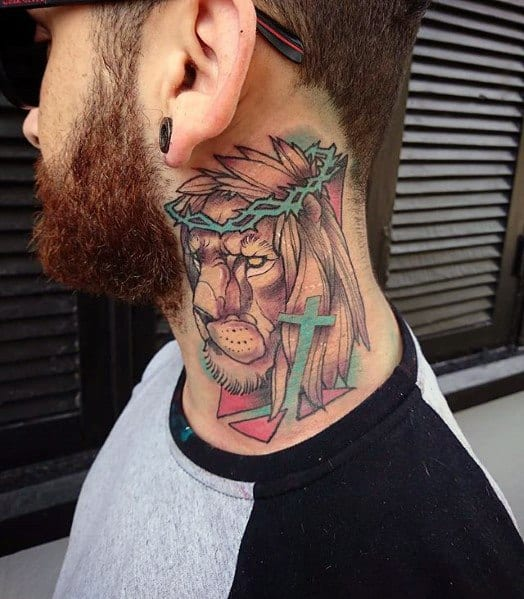 Lion Neck Tattoo Ideas For Men