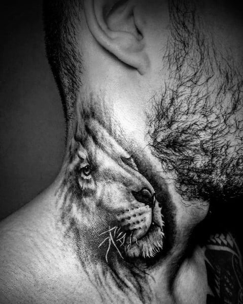 Lion Neck Tattoo Inspiration For Men