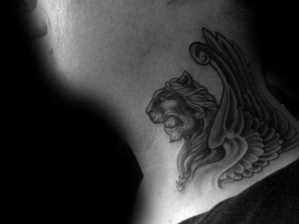 Lion Neck Tattoos For Men