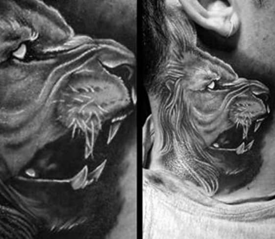 Lion Neck Themed Tattoo Ideas For Men