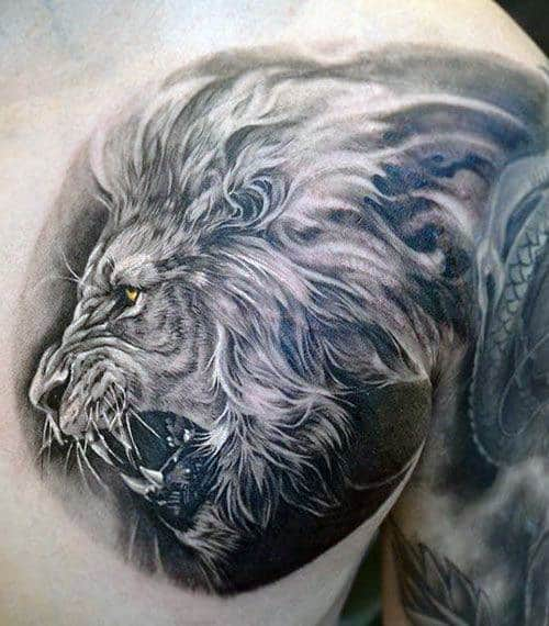 Lion On Chest Men's Tattoo