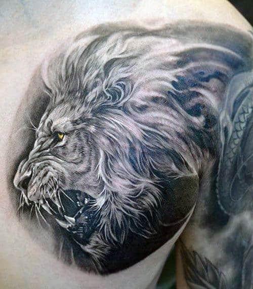 Lion On Chest Men's Tattoo