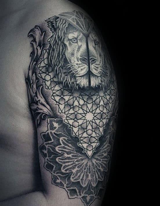 Lion Pointillism Mens Arm Tattoo Ideas