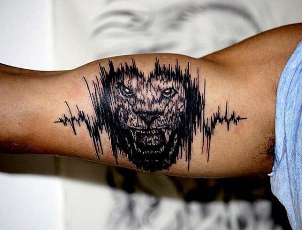Lion Roaring Soundwave Mens Bicep Tattoo
