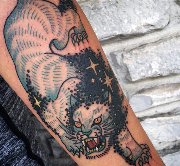 Lion Scratch Tattoo For Men With Stars
