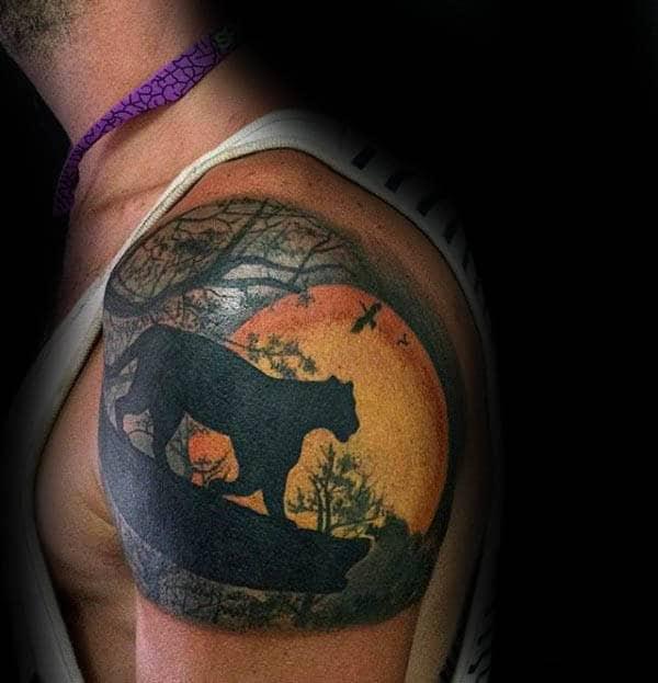 Lion Silhouette Sun Mens Quarter Sleeve Tattoo