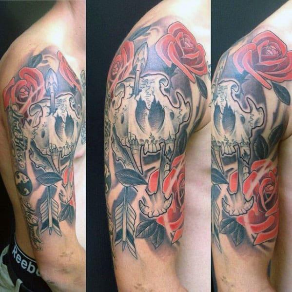 Lion Skull Rose Flower Mens Half Sleeve Tattoo