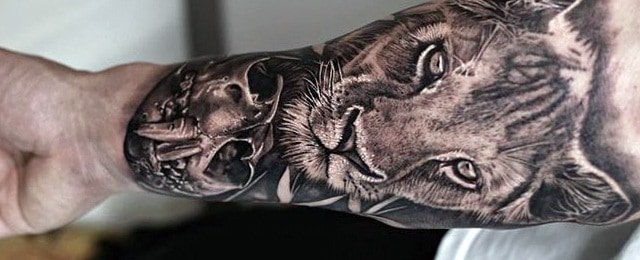 Lion Skull Tattoo Designs For Men