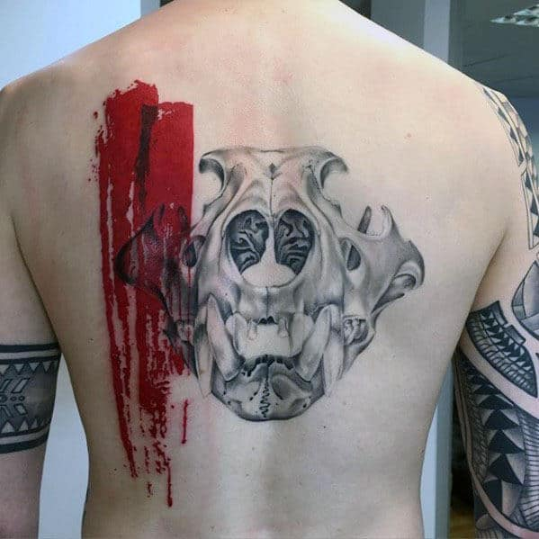 Lion Skull With Red Watercolor Paint Stripes Mens Back Tattoo