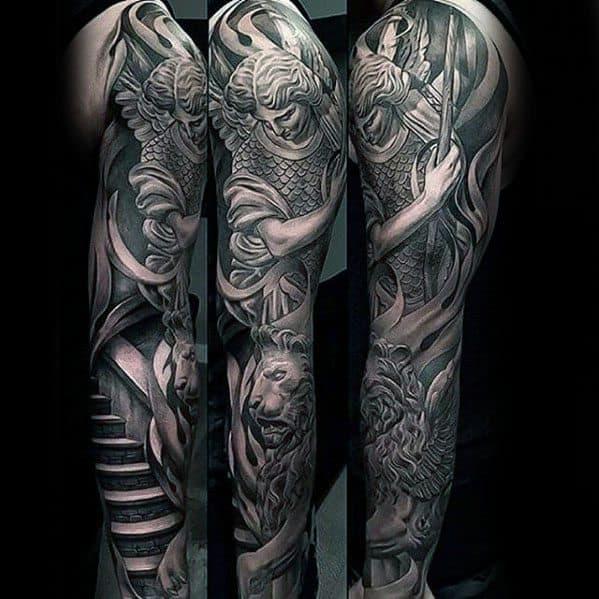 Lion Statue Guys Tattoos Full Arm Sleeve