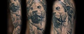 40 Lion Statue Tattoo Designs For Men – Carved Stone Ink Ideas