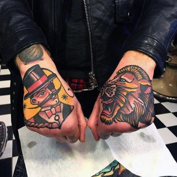 Lion Tamer Circus Tattoo Ideas For Gentlemen On Hands
