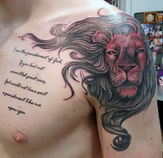Lion Tattoo On Shoulder For Guys