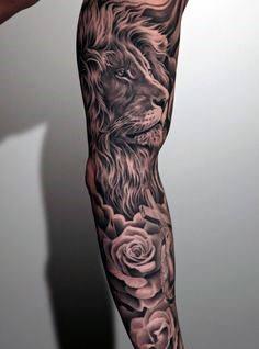 Lion Tribal Tattoo For Men Sleeve