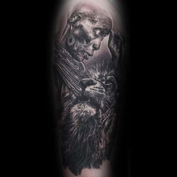 Lion With African Mens Forearm Sleeve Tattoo