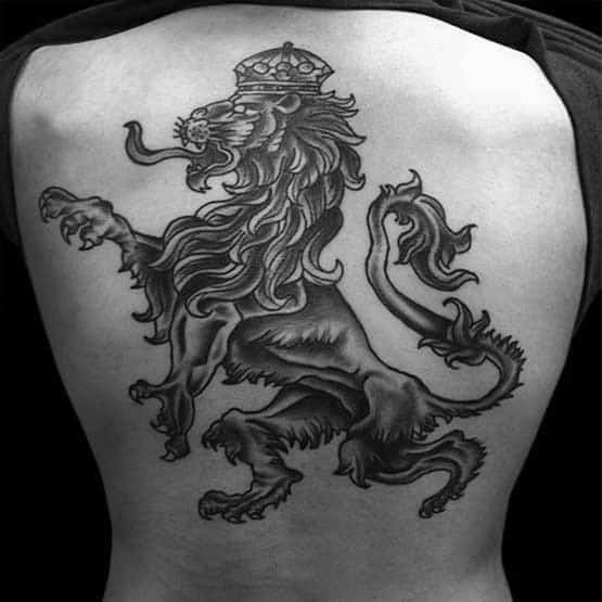 Lion With Crown Symbol Guys Back Tattoos With Shaded Ink Design