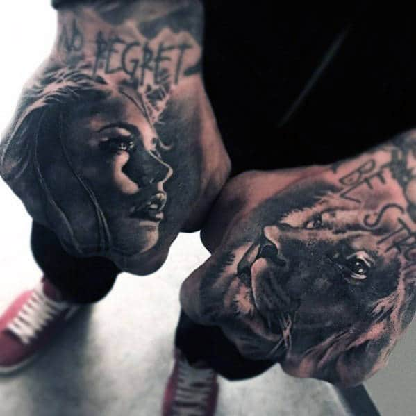 Lion With Female Portrait Male Hand Tattoos