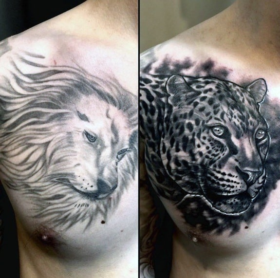 Lion With Jaguar Cover Up Male Chest Tattoos