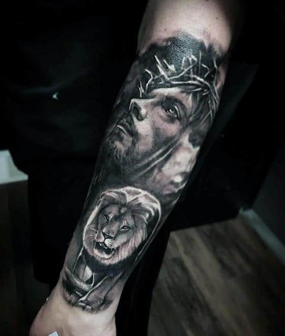 Lion With Jesus Portrait Unique Forearm Mens Tattoos