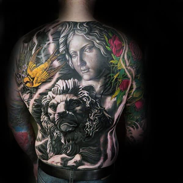 Lion With Portrait Guys Badass Back Tattoo