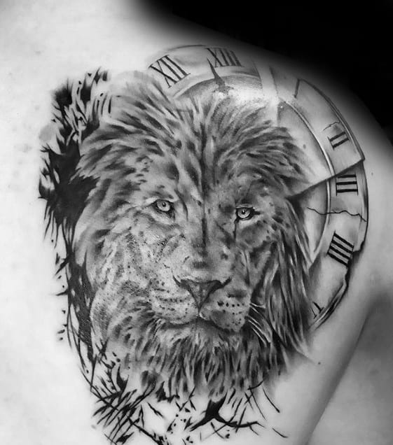 Lion With Roman Numeral Clock Guys Shoulder Tattoos